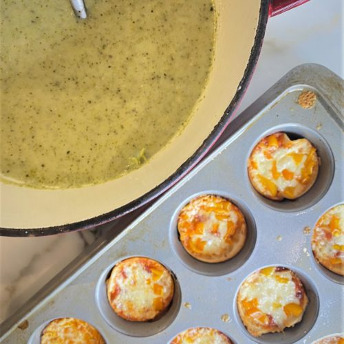 Roasted broccoli cheddar soup and muffin tin pizzas