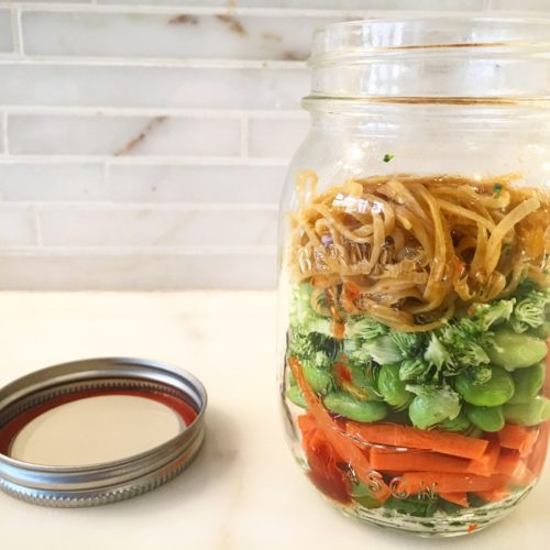 Mason jar vegetable noodle soup