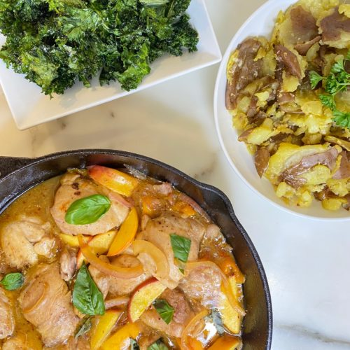 Peach skillet chicken with smashed potatoes and light and crispy kale chips