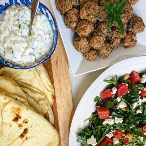 Greek turkey meatballs with tzatziki, watermelon arugula salad and Smore's Rice Krispies squares